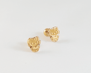 arete hello kittie en oro 18k